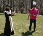 Our group had an actual fake priest read the Hail Mike D.